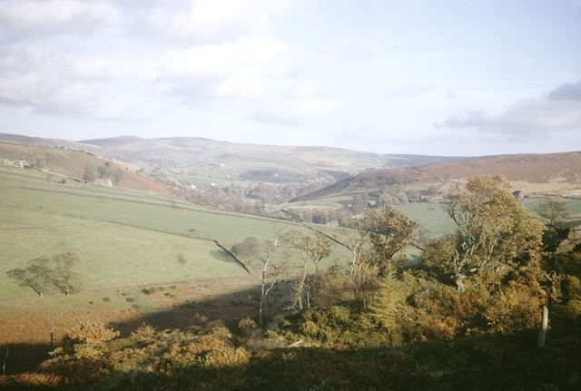 View from near Castle Rocks of Gradbach and Dane Valley, 1971