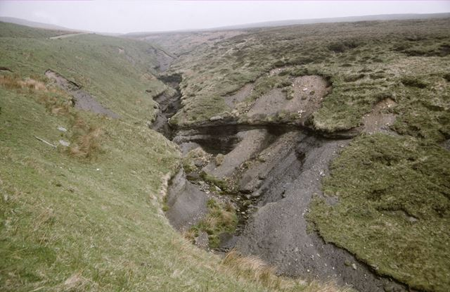 Gorge showing coal measures, Orchard Farm Stream, Dane Valley, c 1970s