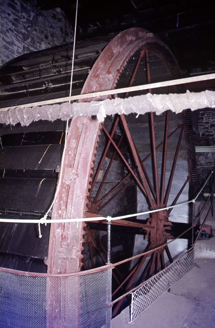Water wheel, Sheldon Mill, Sheldon? SK1768, or in Cheshire? Or Sheldon Wheel at Ashford Mill?, 1971