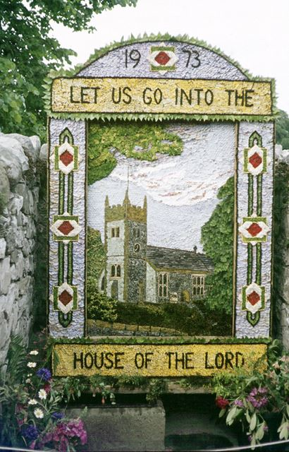 Well dressing, Ashford in the water, Bakewell, 1973
