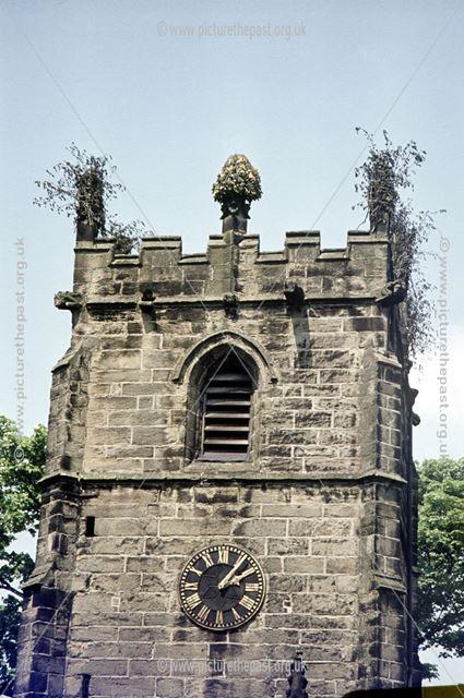 St Edmunds Church after garlanding, Castleton, Hope Valley, 1973