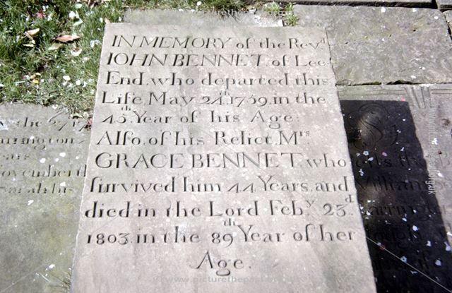 Bennet Tombstone, Chinley 'New' Chapel, off Hayfield Road, Chapel Milton, Chapel-en-le-Frith, c 1980