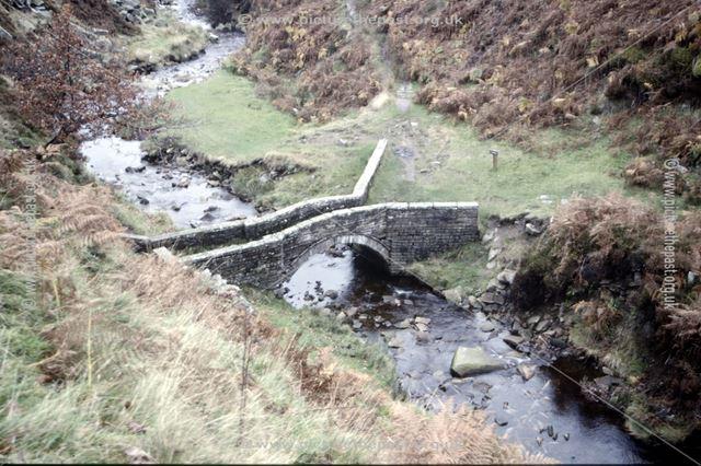 Packhorse bridge over the River Goyt, Goyt Valley, c 1980s