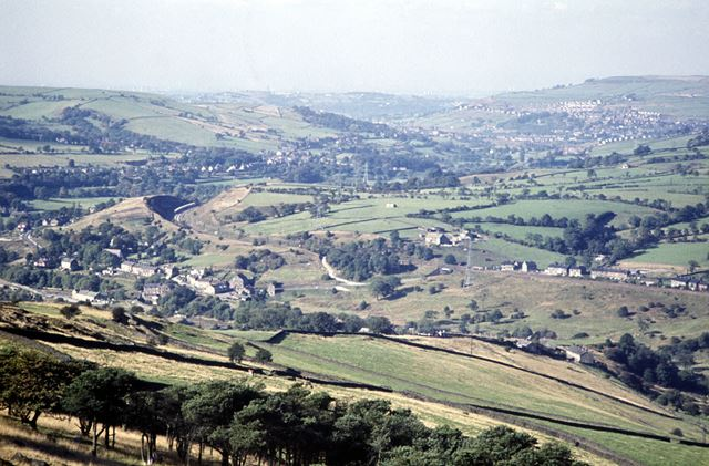 View from Ecclespike nr Chapel en le Frith with New Mills in the distance, c 1980s
