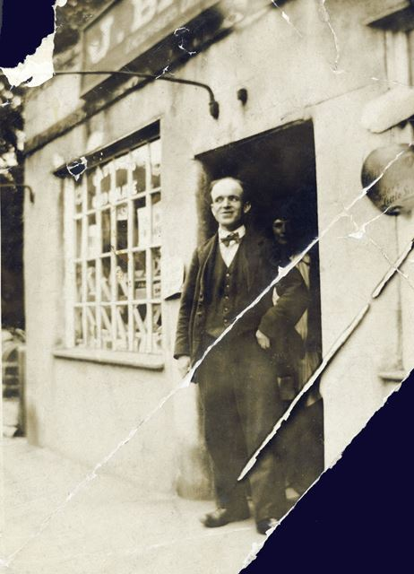 Charles Potter outside the Old Sweet Shop, South Parade, Matlock Bath, c 1920s