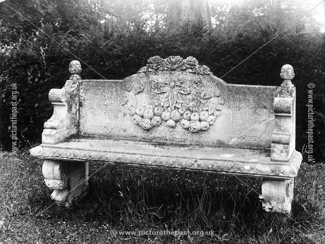 Stone Carved Bench, Thornbridge Hall, Great Longstone, c 1970s