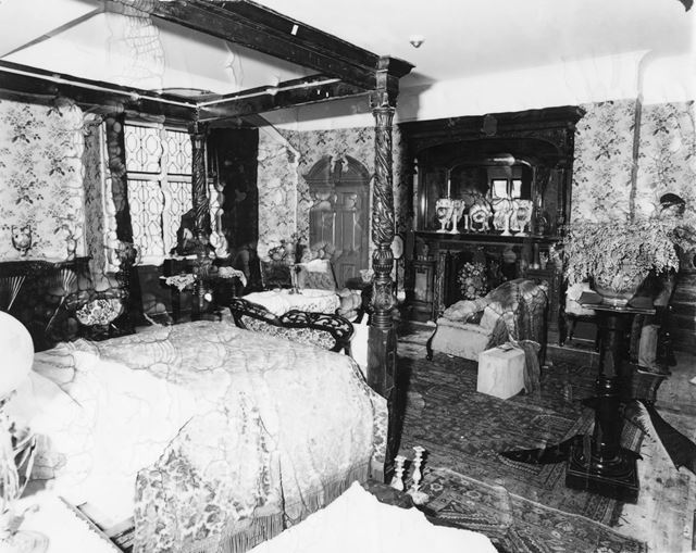 BBC Filming in the Master Bedroom at Thornbridge Hall, Great Longstone, 1987