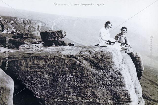 Amy Brackenbury and Sister Annie Berwick, Stanage Edge, Hathersage, 1921