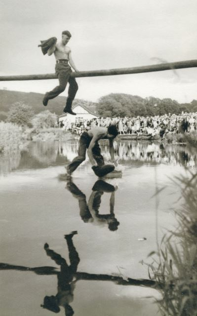 Carnival Slippery Pole over the River Wye, The Park, Bakewell, 1948