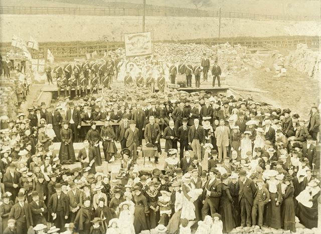 Laying Foundation Stone of New Wesleyan Sunday School, Buxton Road, Chinley, 1903