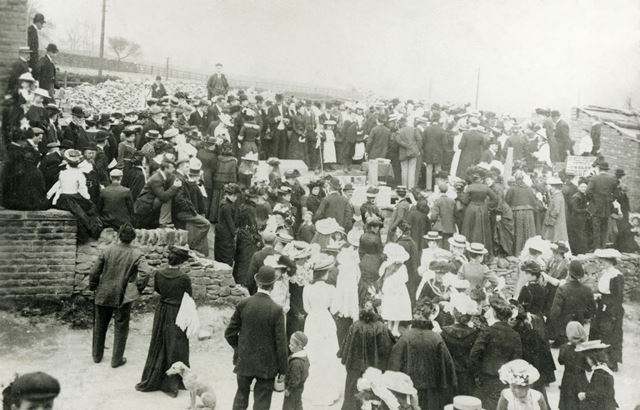 Side View of Gathering at Laying Foundation Stone for Sunday School, Buxton Road, Chinley, 1903