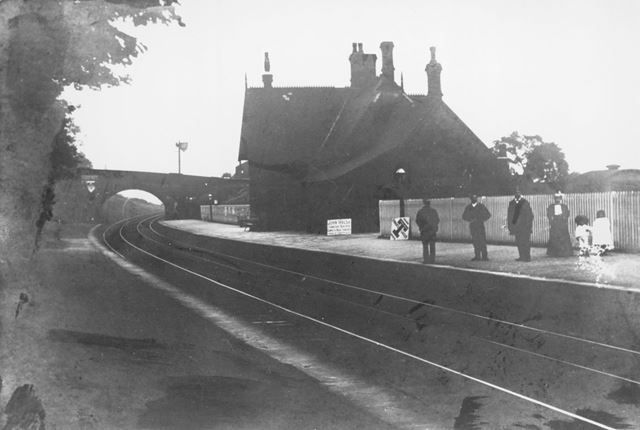 'Down' Platform Showing Travellers at Chinley Railway Station, Cracken Close, Chinley, c 1866