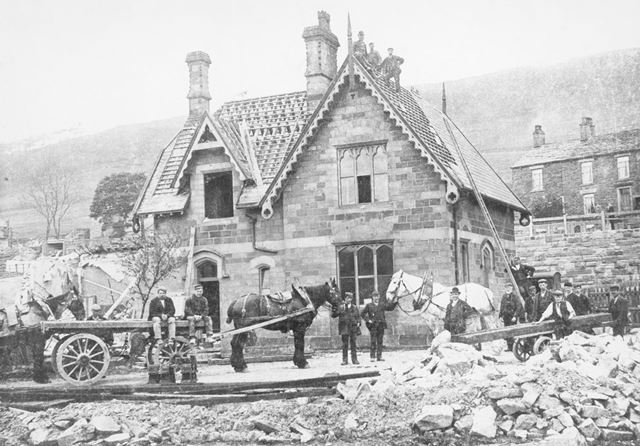 Demolition of the First Chinley Railway Station, Cracken Close, Chinley, 1901