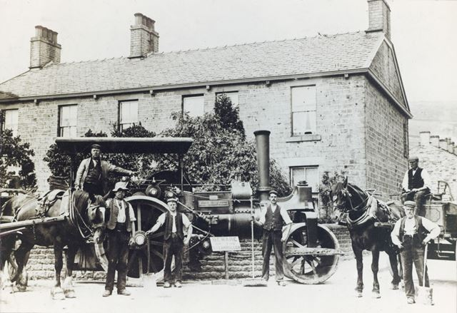 Workmen in front of Albert Place, Corner of Lower Lane and Green Lane, Chinley, c 1920s