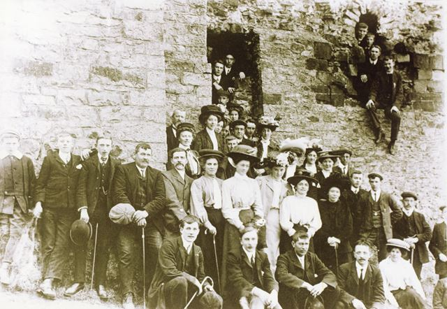 Chinley Lads Club with Ladies out Walking, Unknown Location, c 1900s