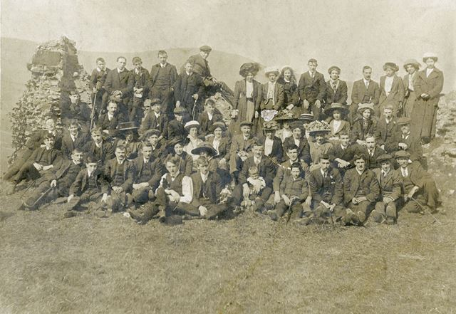 Chinley Lads Club with Families, Unknown Location, c 1900s