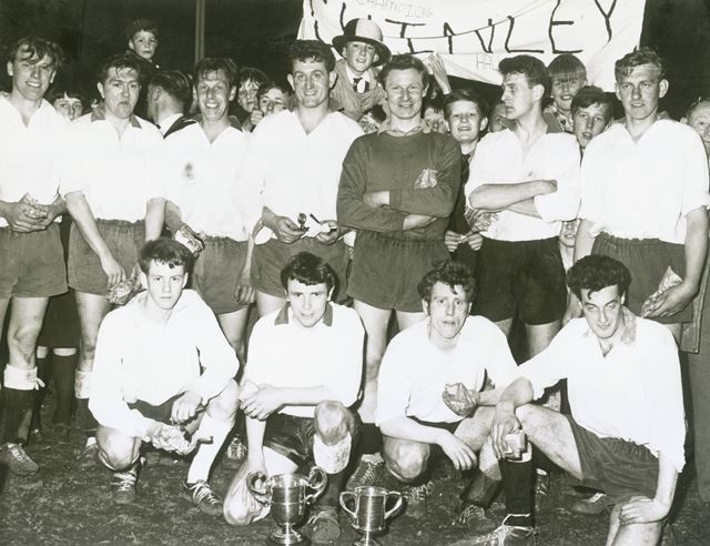 Chinley AFC Celebrating Champion Win, Chinley, 1960s