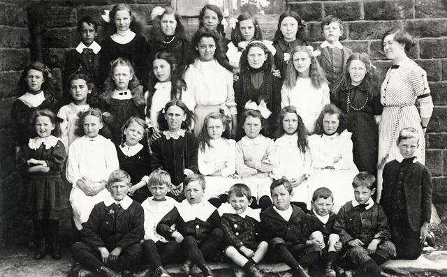 Group Photo, Chinley School, Buxton Road, Chinley, c 1917