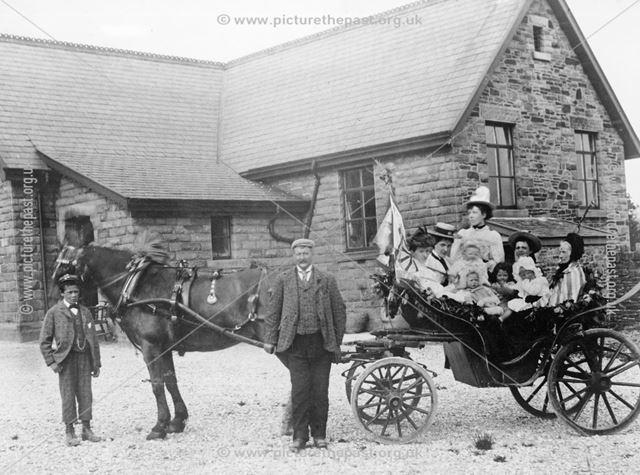 Coronation Celebrations, Elementary School Yard, Buxton Road, Chinley, 1902