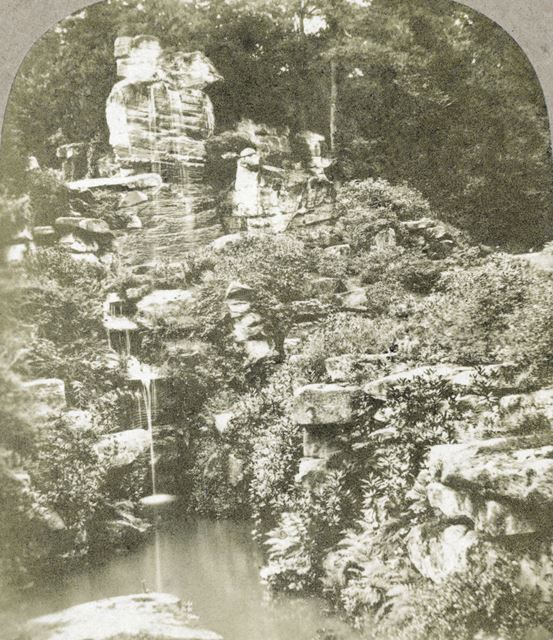 Wellington Rock and Waterfall into The Stride, Chatsworth Gardens, Chatsworth, c 1868