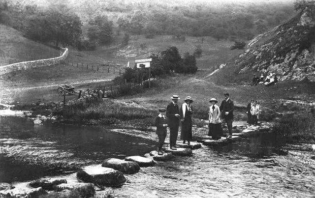 Stepping stones, Dovedale, c 1914 ?