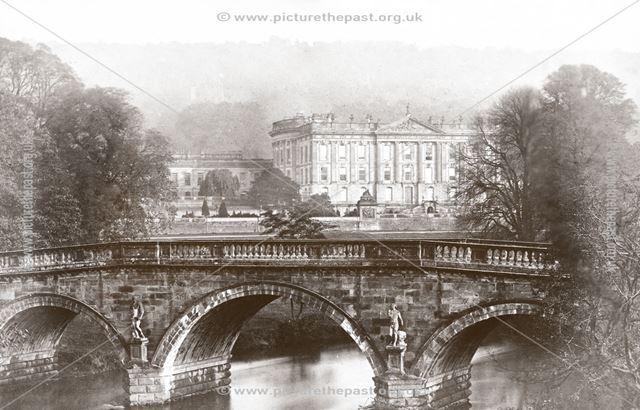 Bridge and Chatsworth House, Chatsworth, pre 1881