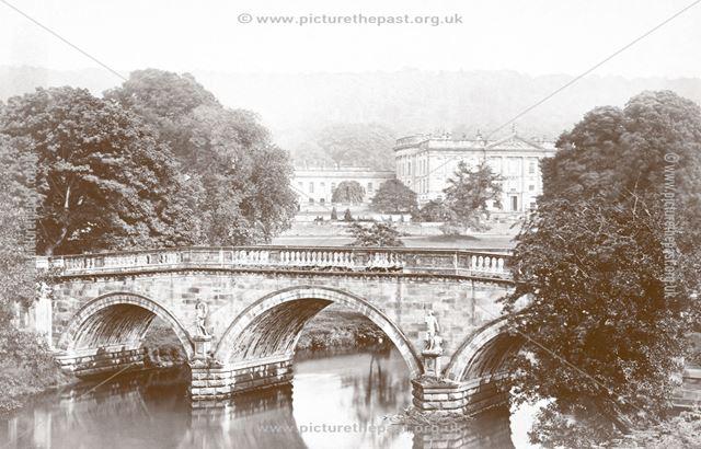 Chatsworth House and Bridge, Chatsworth, c 1880s