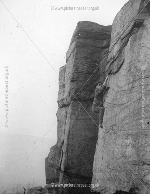 Rock climber on Wharncliffe Crags, Deepcar, Sheffield, c 1900