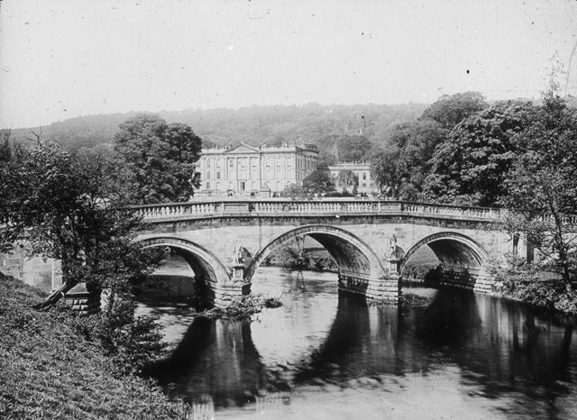 Chatsworth House and Bridge, c 1900