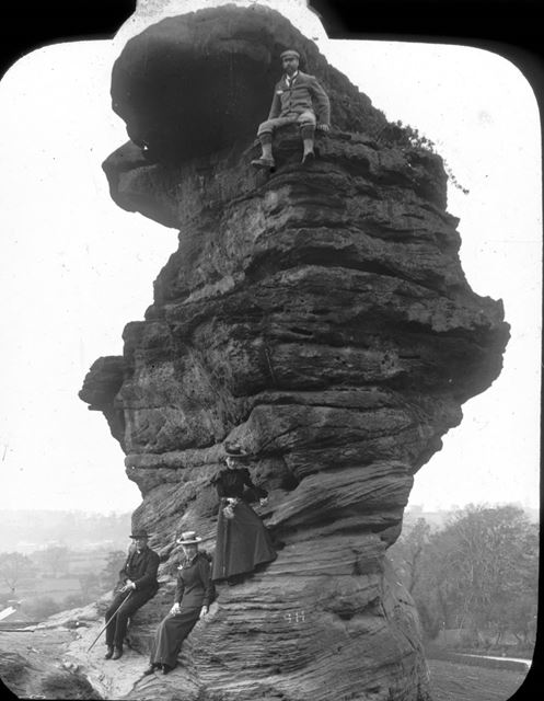 Tourists and climber on the Hemlock Stone, Beeston, c 1900