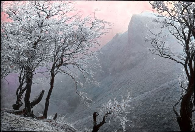 Thor's cave on a frosty morning, Manifold Valley, c 1900