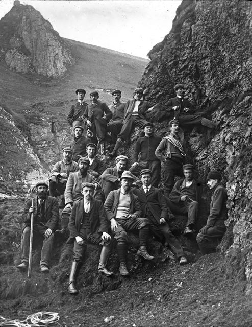 Party of cavers pose before preparing for action