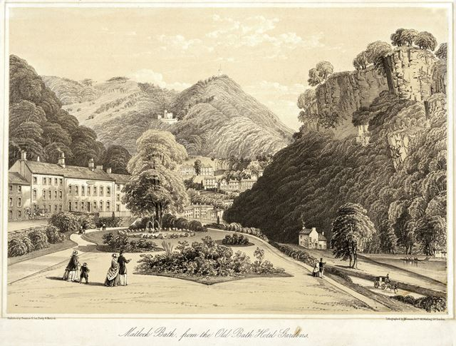View from the Old Bath Hotel gardens, Derby Road (A6), Matlock Bath, pre 1878