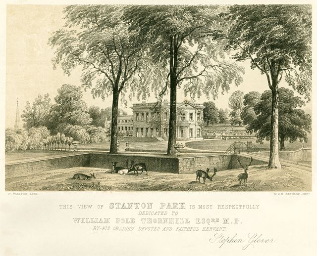 View of Stanton Park showing Stanton Hall, off Main Street, Stanton in Peak, Matlock, c 1840s?