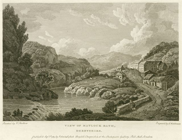 North view of Matlock Bath, now the North Parade, A6, Matlock Bath, 1789