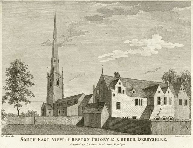 Repton Priory and St Wystan's Church, Willington Road, Repton, 1790