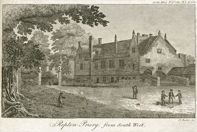 Repton Priory from southwest, Willington Road, Repton, 1811