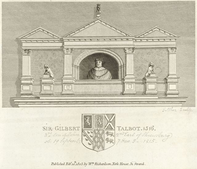 Gilbert Talbot, 7th Earl of Shrewsbury (1552-1616), Family Crest and Coat of Arms, 1803