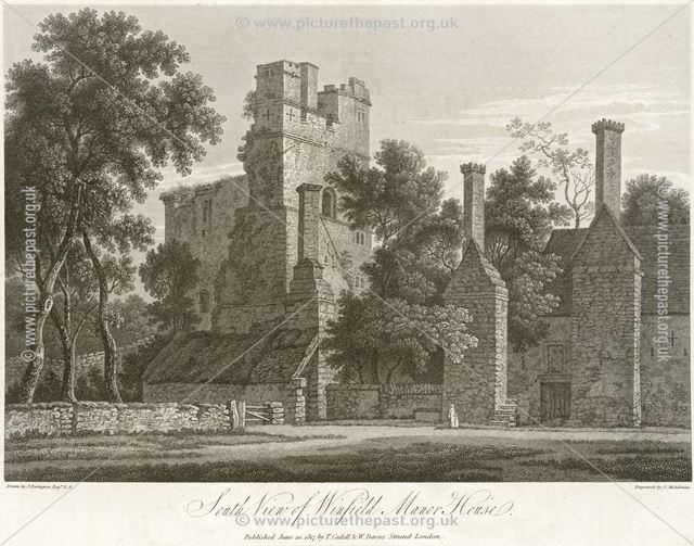 South view of Winfield (Wingfield)) Manor House, South Wingfield, near Oakerthorpe, 1817
