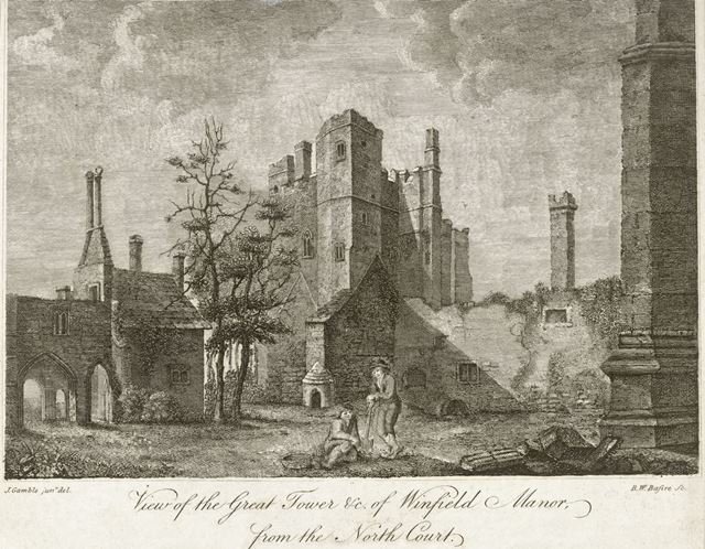 View of the Great Tower of Winfield (Wingfield) Manor, from the North Court, South Wingfield, c 1800