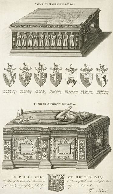 Plate showing the tombs of Ralph Gell and Anthony Gell in Wirksworth Chruch, c 1800