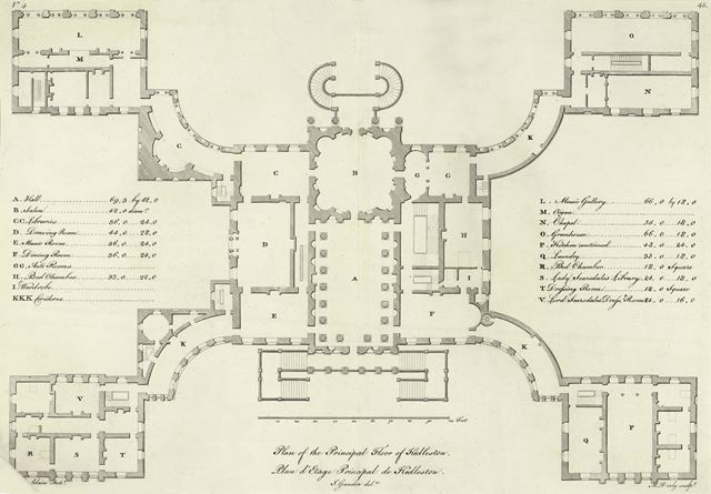 Plan of the Principle Floor of Kedleston Hall, Kedleston, Quarndon, c 1800
