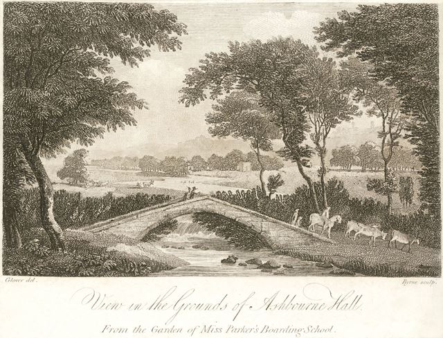 View in the grounds of Ashbourne Hall, Cockayne Avenue, Ashbourne, c 1800?
