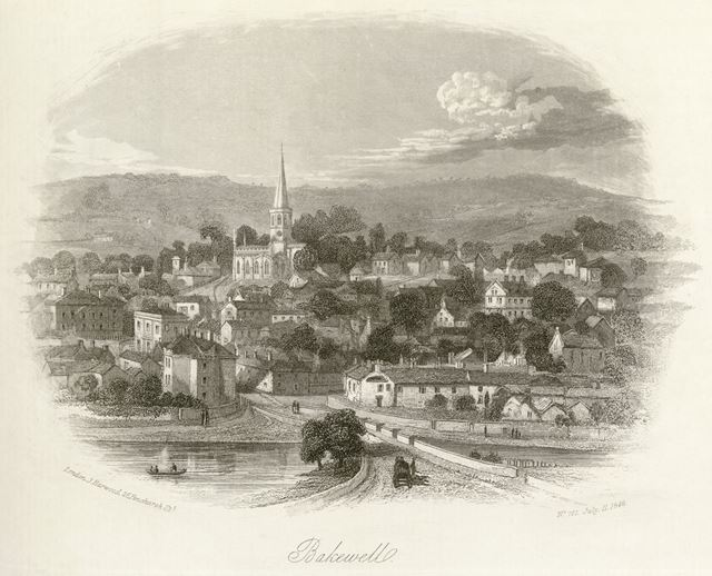 View of Bakewell showing All Saint's Church, Bakewell, 1848