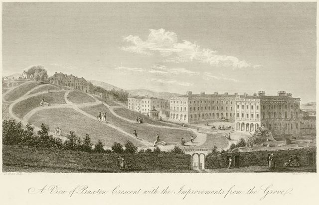 'A view of Buxton Crescent with the improvements from the Grove', The Crescent, Buxton, c 1800?