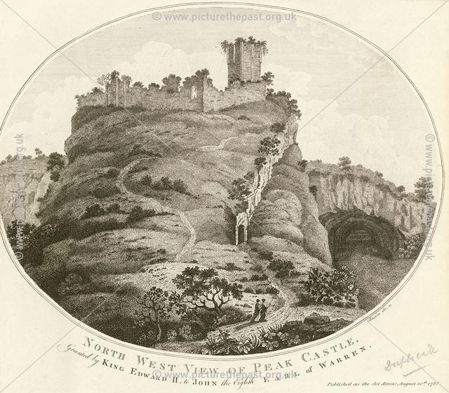 North west view of Peak (Peveril) Castle, Castleton, 1785