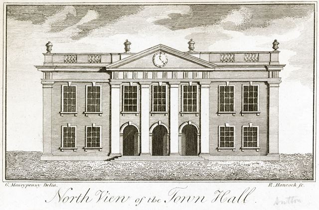 North view of the Guildhall 'Town Hall', Market Place, Derby, c 1750s?