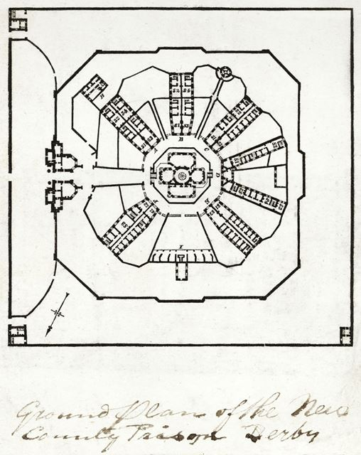 Ground plan of the new County Prison (County Gaol), Friar Gate, c 1826?