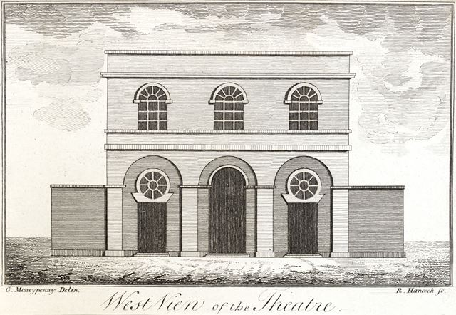 West view of the Theatre, Bold Lane, c 1790?