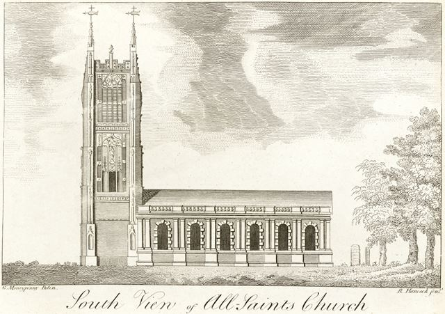 South view of All Saint's Church (Derby Cathedral), Iron Gate, 1750?